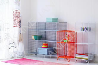 Several wire mesh shelves are coated with PE powders in gray, red and white.