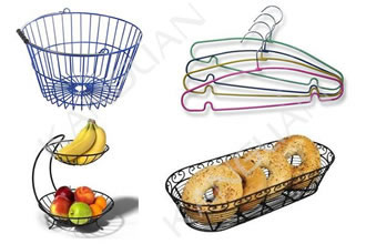 Four homes appliances including wire baskets, wire hangers, metal fruit baskets and food baskets that coated with our thermoplastic powder coatings.