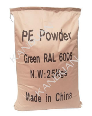 A bag of green PE powders in weight of 25kg.