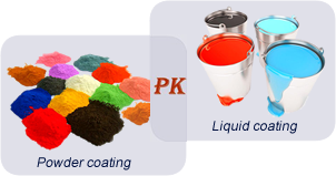 The comparison of piles of powder coatings and barrels of liquid coating.