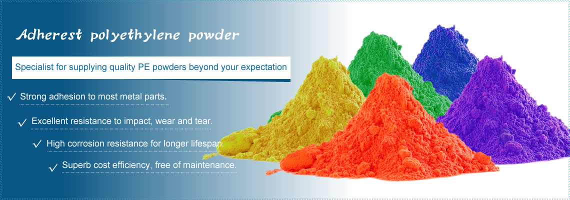 Five piles of polyethylene powders in orange, yellow, purple, green and blue.